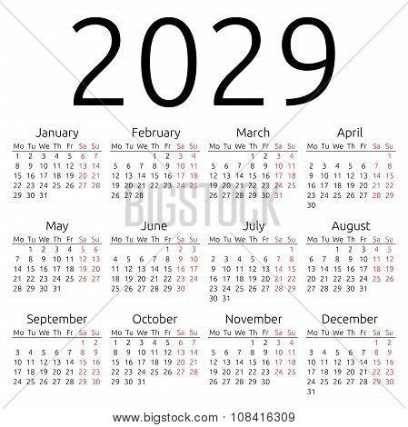 Simple Calendar 2029, Monday
