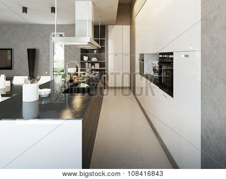 White kitchen in contemporary style 3d images poster