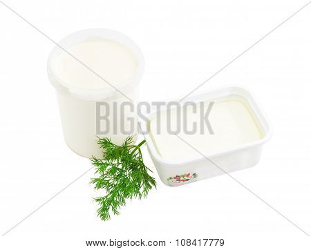 Containers Of Feta Cheese And Cream, Branch Of A Dill