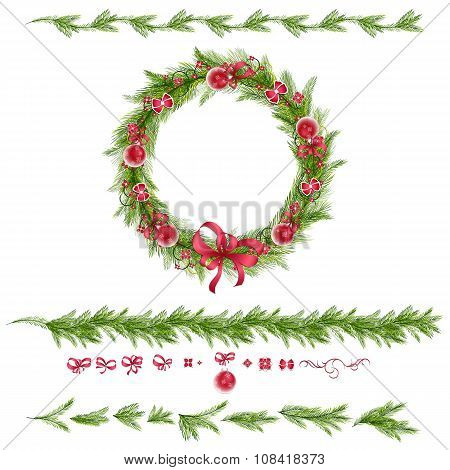Christmas wreath with christmas balls abstract flowers