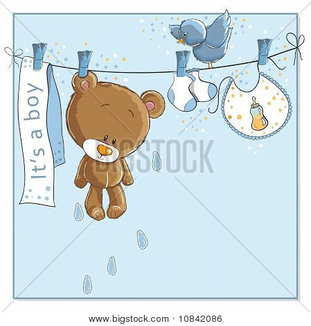 It's a boy - baby announcement card