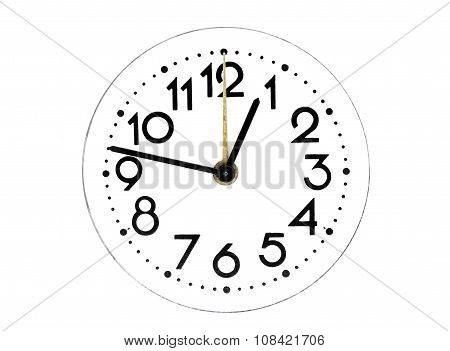 Dial of analog hours on a white background