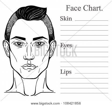 Male face chart make up artist blank.