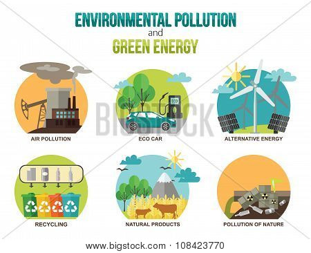 Environmental pollution and green energy ecology concepts., Eco car, recycling, natural products.