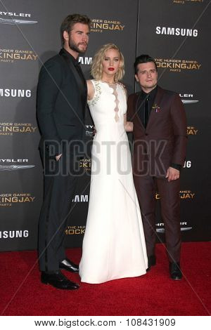 LOS ANGELES - NOV 16:  Liam Hemsworth, Jennifer Lawrence, Josh Hutcherson at the