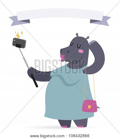 Selfie photo hippo fat woman vector portrait illustration on white background