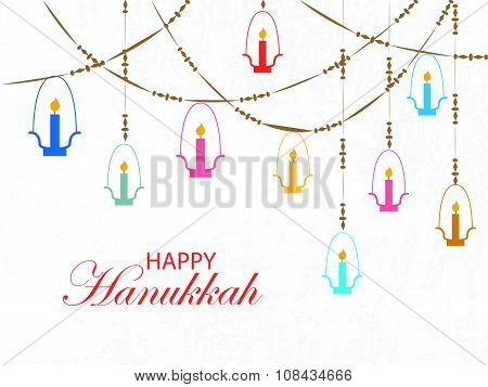 Falt Design Style Happy Hanukkah Logotype, Badge And Icon Typography