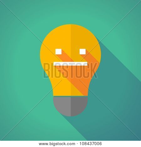 Long Shadow Vector Light Bulb With A Emotionless Text Face