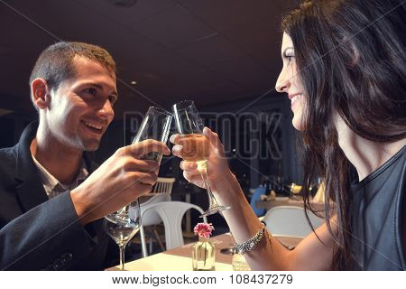 Couple In Love Having Dinner At A Romantic Restaurant