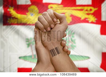 Barcode Id Number On Wrist Of Dark Skin Person And Canadian Province Flag On Background - Prince Edw