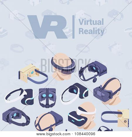 Vector decorating design made of isometric virtual reality headsets