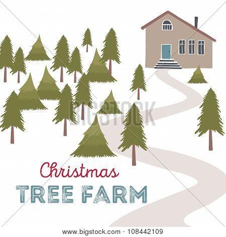 Christmas tree farm vector illustration.