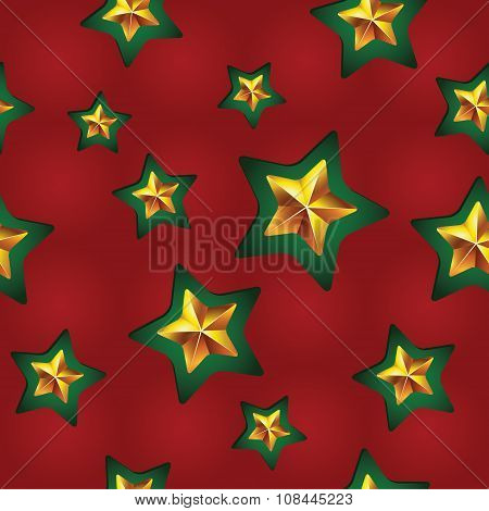 Vector Seamless Christmas Pattern With Clipped Stars. Holiday Theme. For Wrapping Paper, Wallpapers,