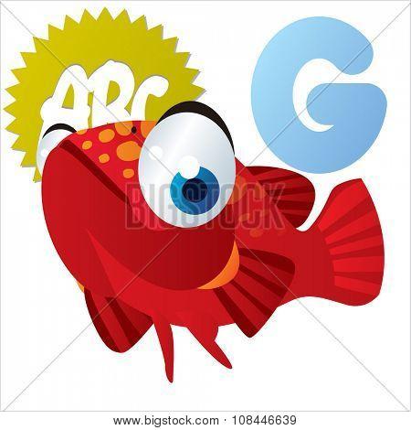 Vector comic funny cartoon animals alphabet: G is for Grouper