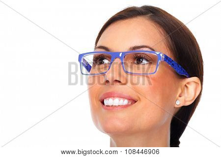 Beautiful young lady wearing eyeglasses close-up.