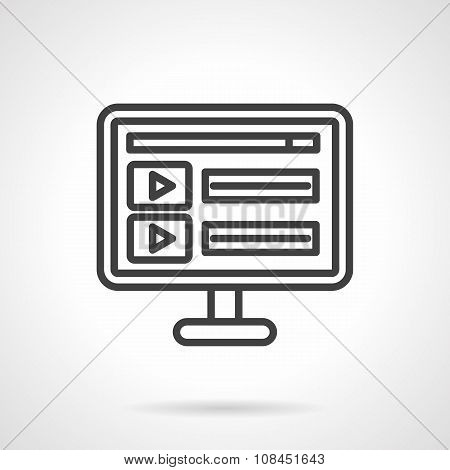 Online video black line vector icon