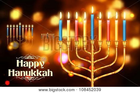 illustration of Happy Hanukkah, Jewish holiday background
