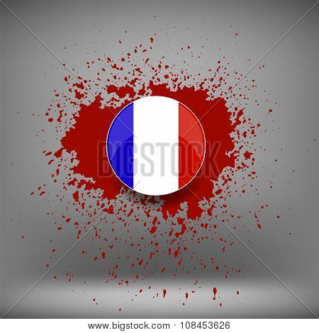 French Icon and Blood Splatter on Soft Grey Background poster