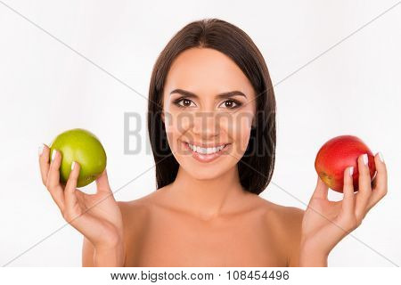 Bonny Girl Chosing Between Green And Red Apples