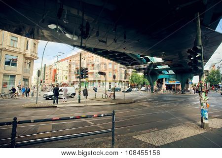 People Crossing Road Under Bridge Near Undeground Station U-bahn
