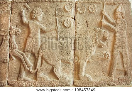8Th Century Bc Bas-relief With Great Scene With Tiger Hunters