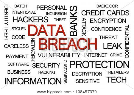 Data Breach Word Cloud on White Background poster