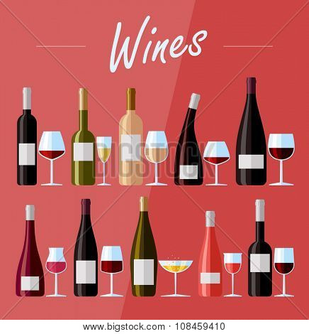 Flat design illustration of wine bottles and glasses with various types of wine