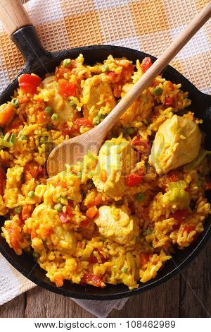 Arroz Con Pollo Close Up In A Frying Pan Vertical Top View