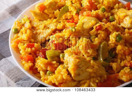 Arroz Con Pollo - Rice With Chicken And Vegetables Closeup. Horizontal