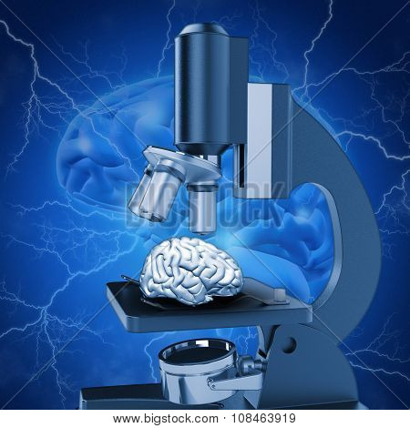 3D medical image with brain under microscope depicting alzheimers research
