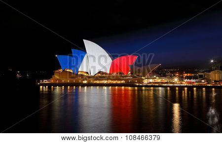 Sydney Opera House Lit Up In French Flag Colours
