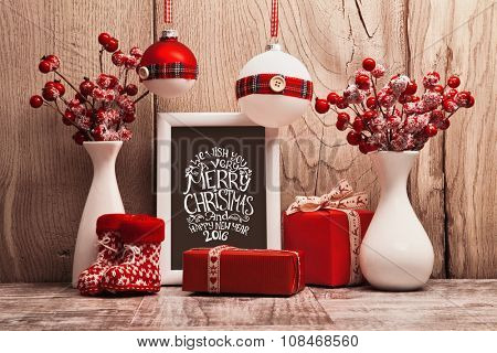 Christmas background with gifts and Christmas balls. Frame with congratulatory text