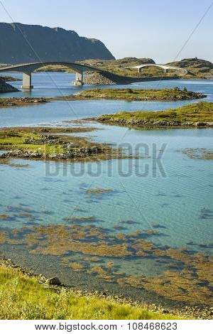 Bridges in Lofoten Islands during sunny summer day North Norway poster