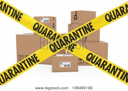 Dangerous Parcels Concept - Stack Of Cardboard Boxes Behind Quarantine Tape