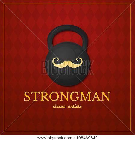 Strongman logo, circus design, vector illustration