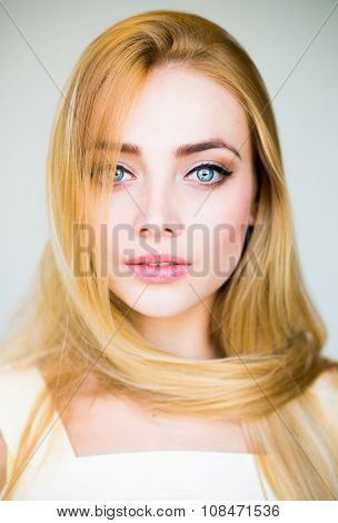 beautiful blond woman with long hair