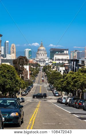 Fulton Street and the City Hall in San Francisco