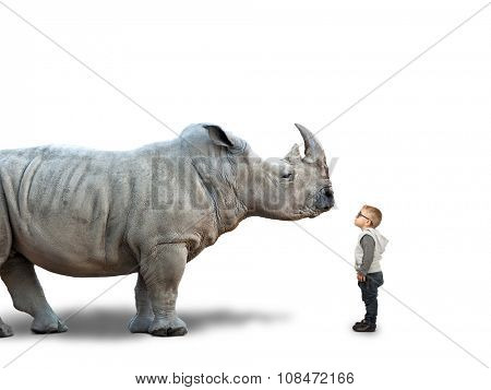 little child and huge rhino on white poster