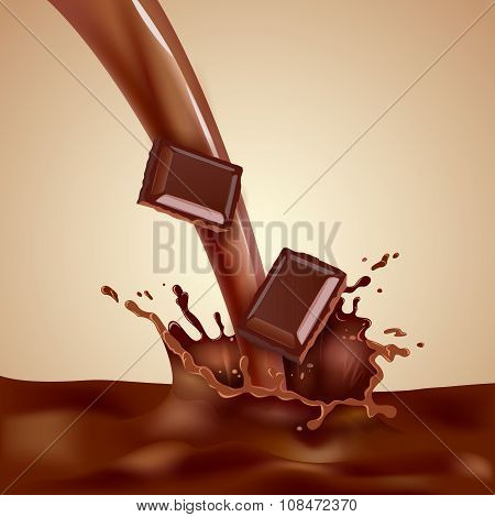 Sweet choco milk with pieces of chocolate and splashes realistic vector illustration