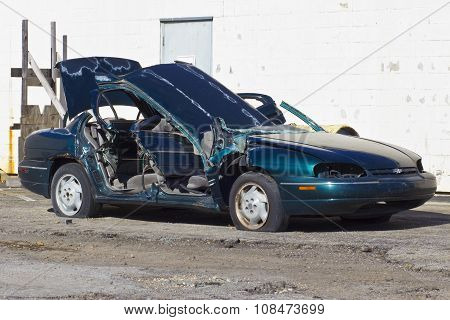 Indianapolis - Circa November 2015: Totaled Automobile After Drunk Driving Accident Iv