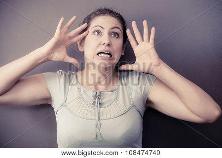 Stressed Nervous Woman Portrait
