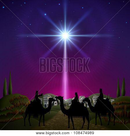 Three Wise Men Follow The Star Of Bethlehem