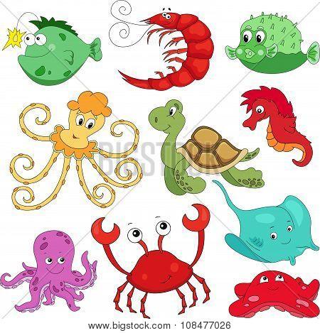 Sea Inhabitants: Octopus, Pufferfish, Starfish, Sea-horse, Crab, Stingray, Shrimp And Turtle