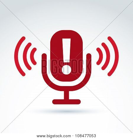 Dissemination Of Information Theme Icon, Hot News, Vector Conceptual Unusual Symbol For Your Design.