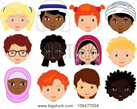 Boys And Girls Of Different Nationalities. Multinational Children. Kids Faces Of Different Cultures