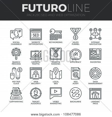 Search Engine Optimization Futuro Line Icons Set