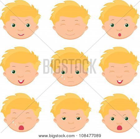 Boy Emotions: Joy, Surprise, Fear, Sadness, Sorrow, Crying, Laughing, Cunning, Wink