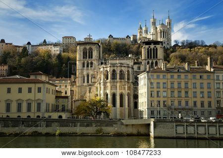 Beautiful view of Old Lyon and the Fourviere basilica