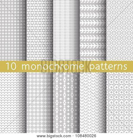 10 Monochrome Seamless Patterns.