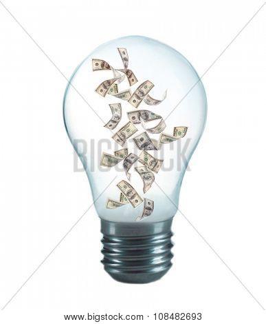 Money inside light bulb, isolated on white